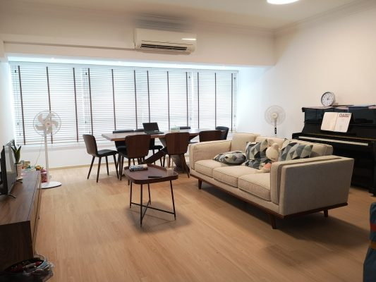 A Living Room with Venetian Blinds