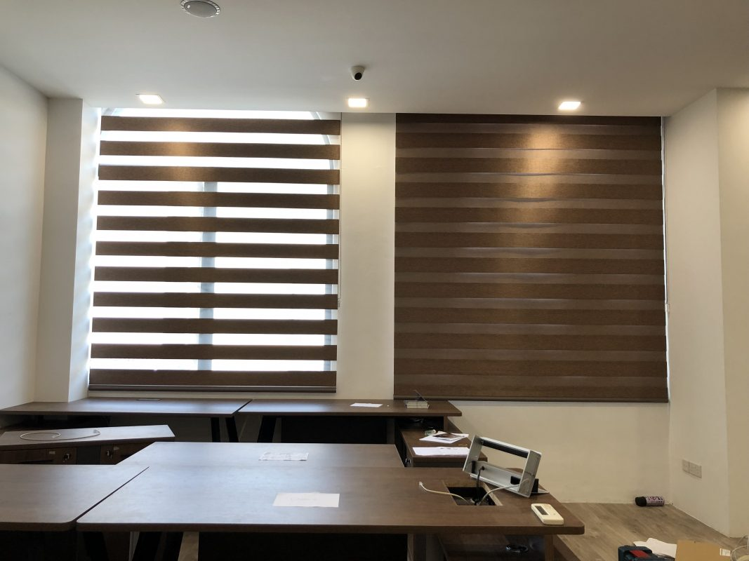 Brown Combi Blinds for all Windows in Work Space